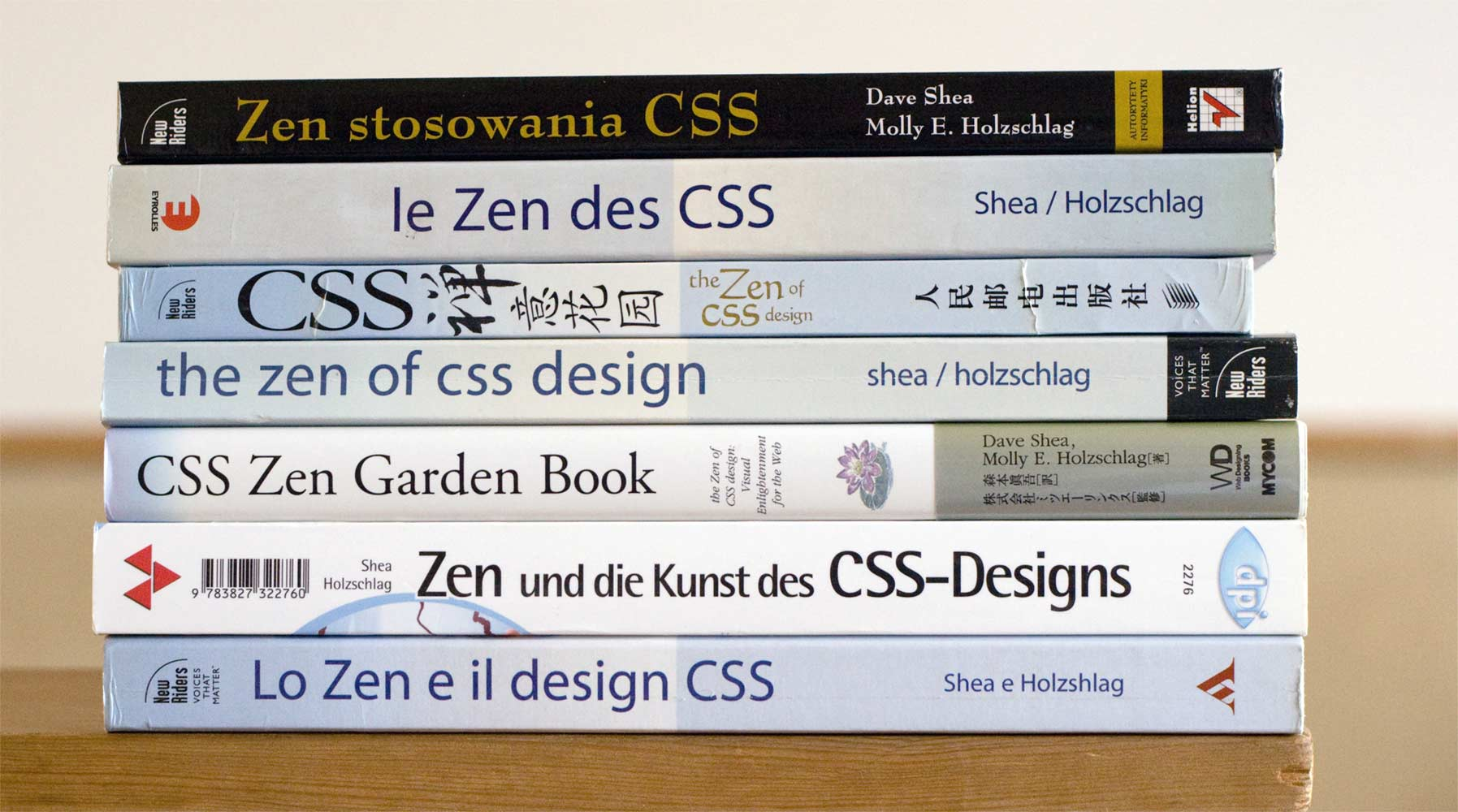 Stack of books translated into various languages